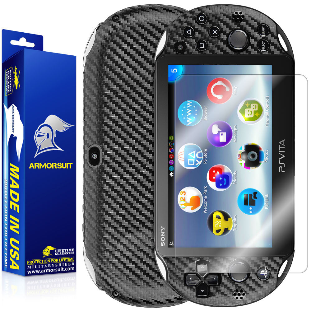 Sony PlayStation Vita Slim (2014) Screen Protector + Black Carbon Fiber Film Protector