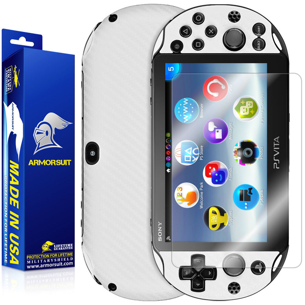 Sony PlayStation Vita Slim (2014) Screen Protector + White Carbon Fiber Film Protector