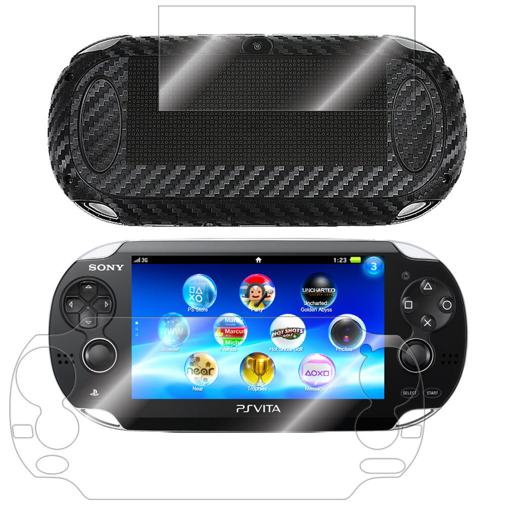 Sony PlayStation Vita Screen Protector + Black Carbon Fiber Film Protector