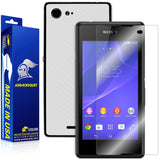 Sony Xperia E3 Screen Protector + White Carbon Fiber Skin
