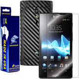 Sony Ericsson Xperia ion Screen Protector + Black Carbon Fiber Film Protector