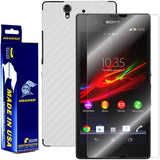 Sony Xperia Z Screen Protector + White Carbon Fiber Skin Protector