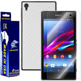 Sony Xperia Z1 Screen Protector + White Carbon Fiber Skin Protector