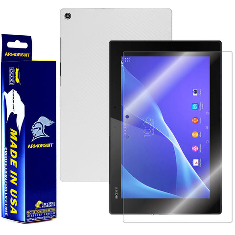 Sony Xperia Tablet Z2 Screen Protector + White Carbon Fiber Film Protector