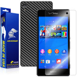 Sony Xperia Z3V Screen Protector + Black Carbon Fiber Skin