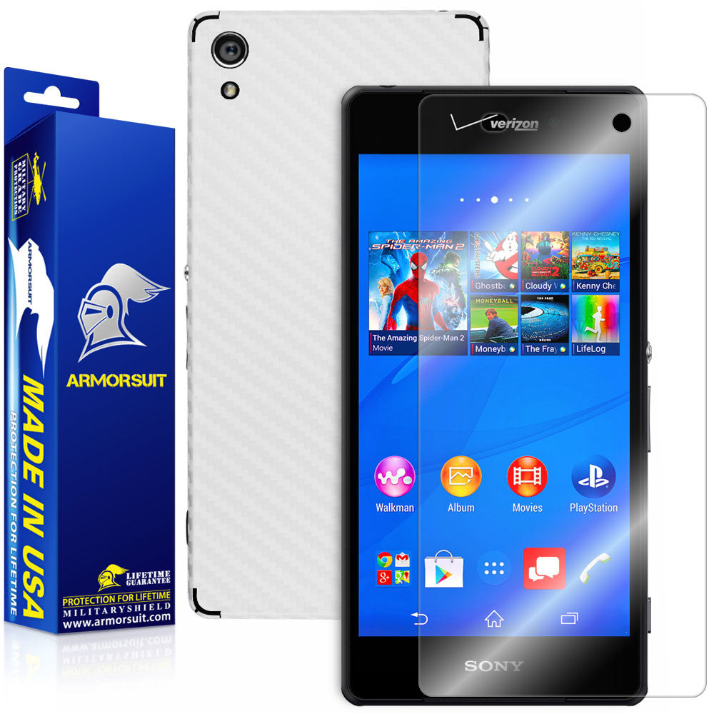 Sony Xperia Z3V Screen Protector + White Carbon Fiber Skin