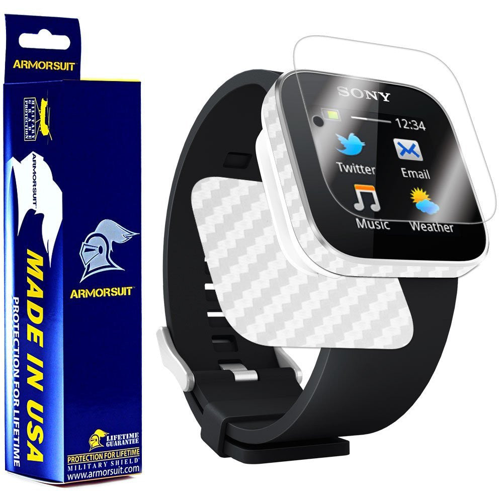Sony SmartWatch Screen Protector + White Carbon Fiber Film Protector