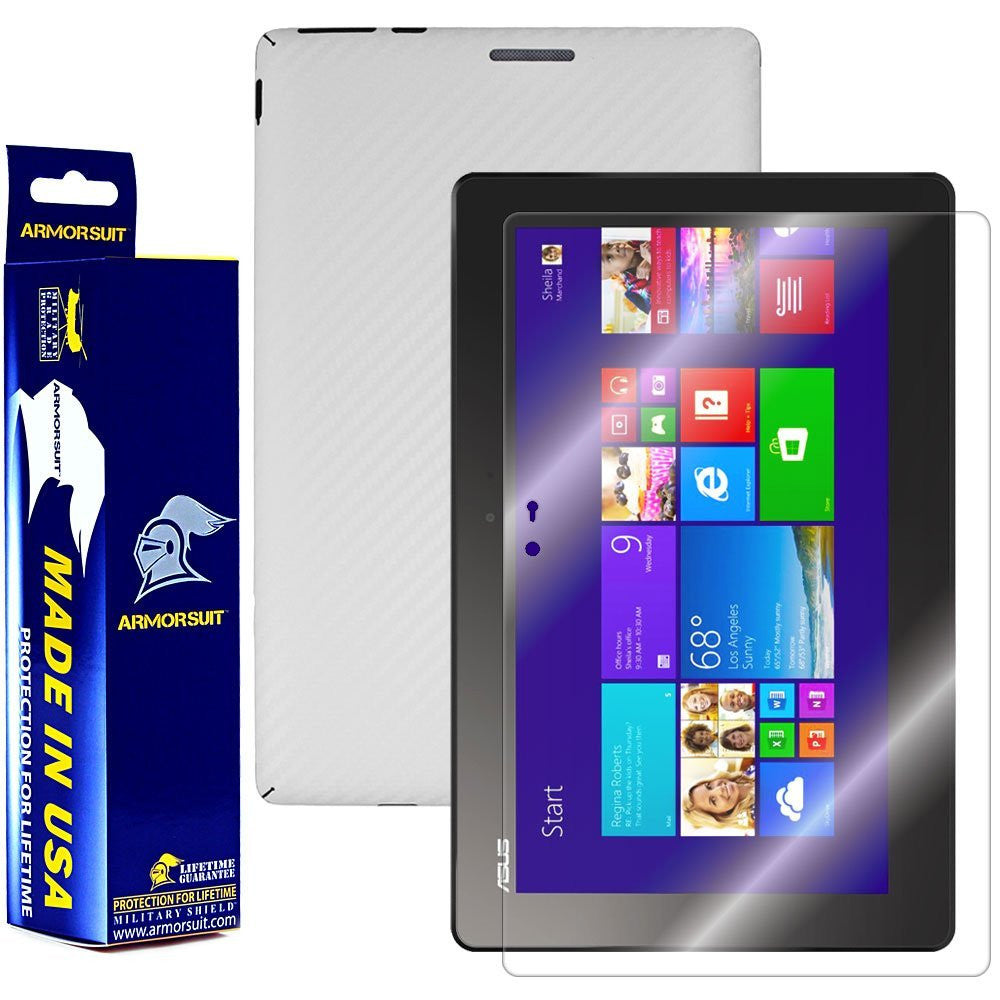 Asus Transformer Book T100 Screen Protector + White Carbon Fiber Film Protector