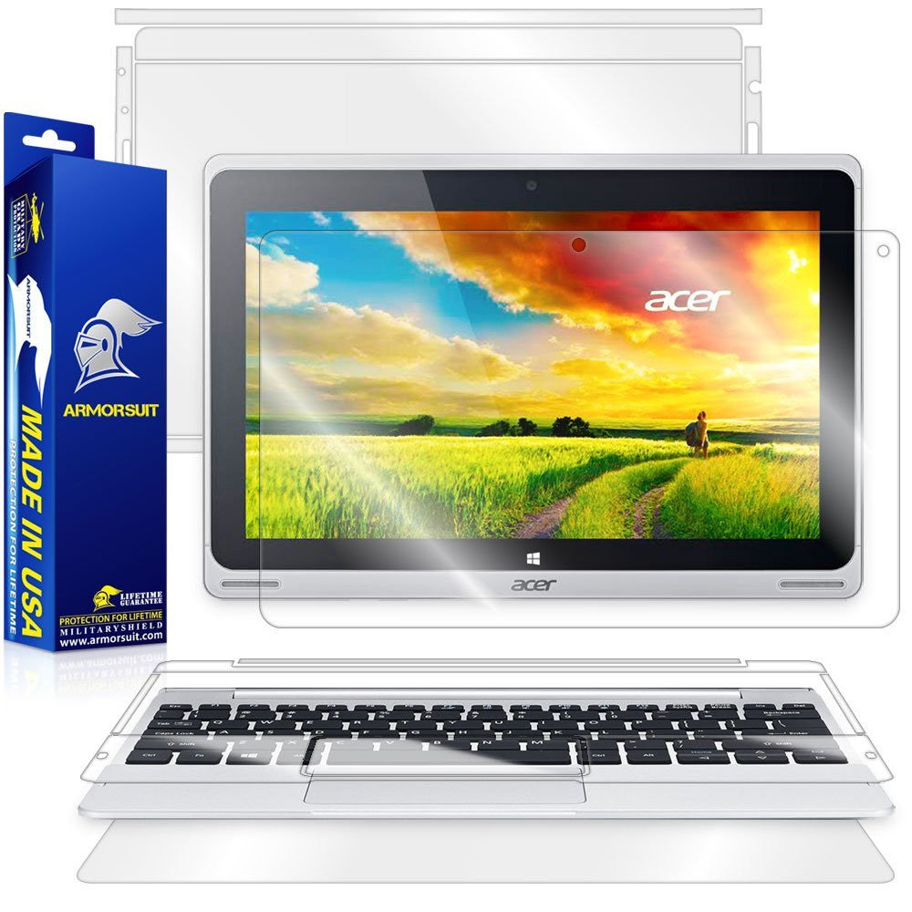 Acer Aspire Switch 10 (SW5-011) Screen Protector + Full Body Skin Protector (Tablet & Keyboard) Front + Back