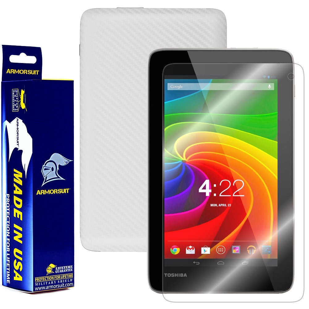 Toshiba Excite 7c Screen Protector + White Carbon Fiber Film Protector