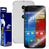 Motorola Moto X (1st Generation) Screen Protector + White Carbon Fiber Film Protector