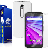 Motorola Moto G (3rd Generation 2015) Screen Protector + White Carbon Fiber Full Body Skin Protector