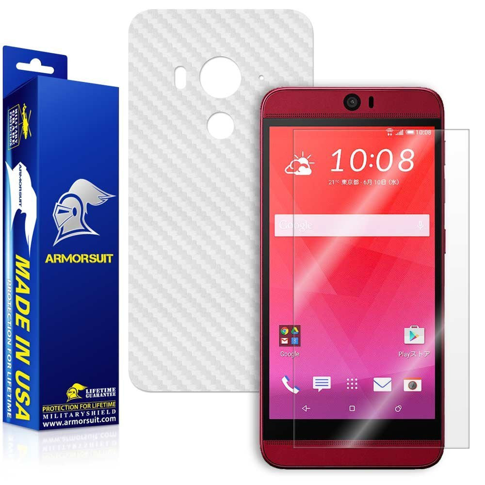 HTC Butterfly 3 Screen Protector + White Carbon Fiber Film Protector