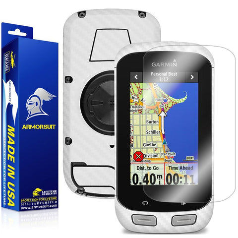 Garmin Edge 1000 Screen Protector + White Carbon Fiber Skin