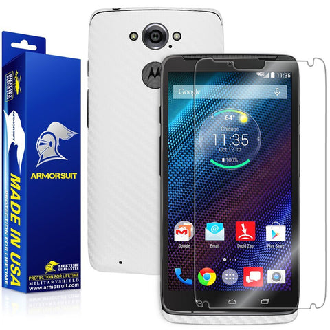 Motorola Droid Turbo Screen Protector + White Carbon Fiber Skin (Not For Special Edition Ballistic Nylon Version)