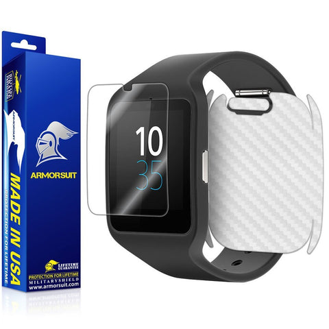 Sony SmartWatch 3 Screen Protector + White Carbon Fiber Skin