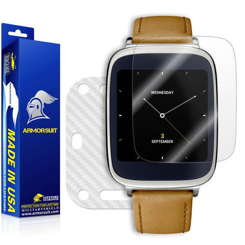 Asus ZenWatch Screen Protector + White Carbon Fiber Skin