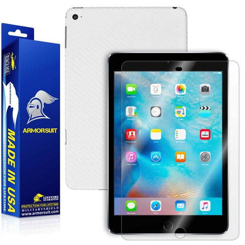 Apple iPad Mini 4 (WiFi + 4G LTE) Screen Protector + White Carbon Fiber Skin