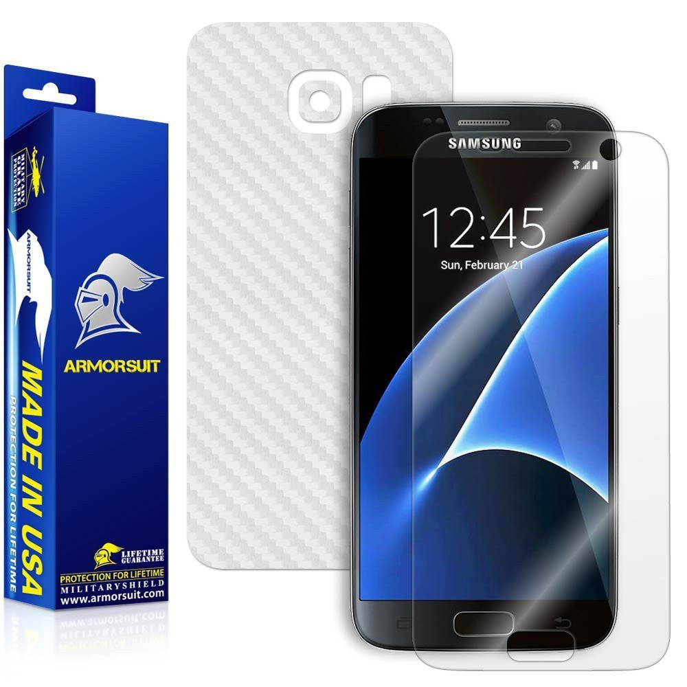 Samsung Galaxy S7 Plus Screen Protector [Full Screen Coverage] + White Carbon Fiber Skin
