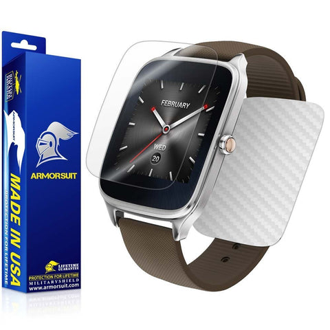 ASUS ZenWatch 2 1.63 Screen Protector + White Carbon Fiber Skin