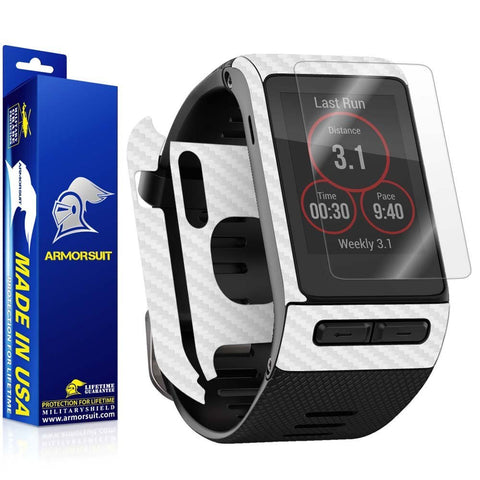 Garmin Vivoactive HR Screen Protector + White Carbon Fiber Skin