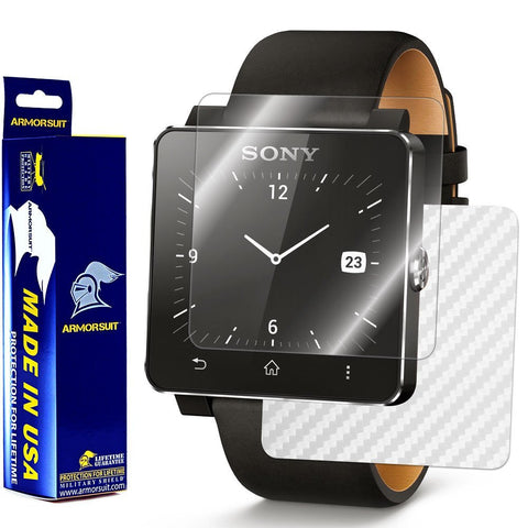 Sony SmartWatch 2 Screen Protector + White Carbon Fiber Film Protector