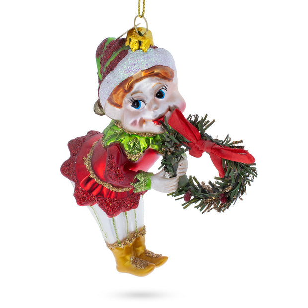 Elf with Wreath Blown Glass Christmas Ornament by BestPysanky