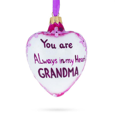 For My Grandma Glass Heart Christmas Ornament by BestPysanky