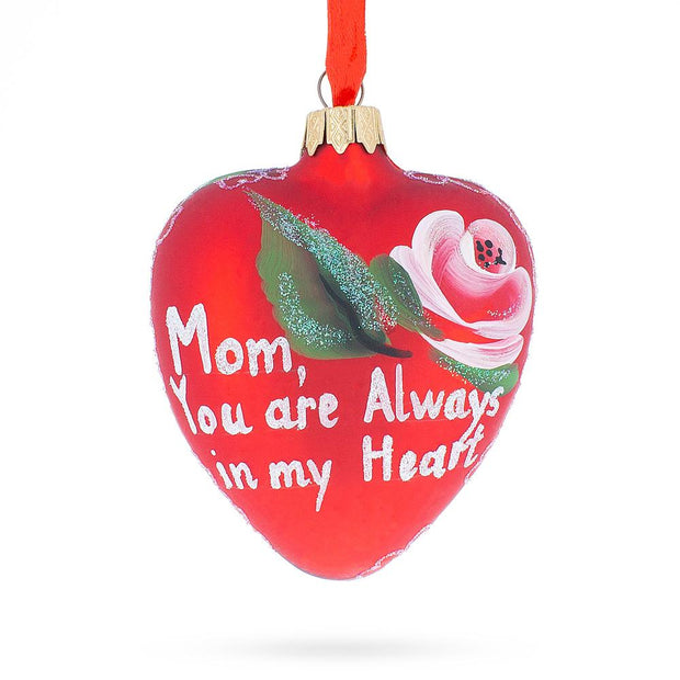 For My Mom Glass Heart Christmas Ornament by BestPysanky