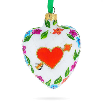 Arrow In Red Heart Valentine's Day Glass Ornament by BestPysanky