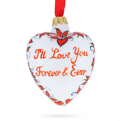 Love You Forever Red Heart Valentine's Glass Ornament by BestPysanky