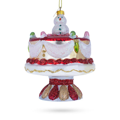 Snowman Cake Decoration Glass Christmas Ornament by BestPysanky