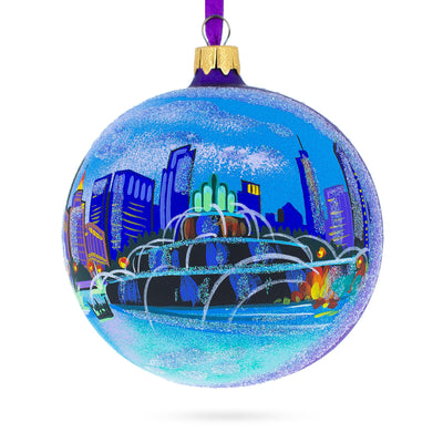 Buckingham Fountain, Chicago, Illinois Glass Ball Christmas Ornament 4 Inches by BestPysanky