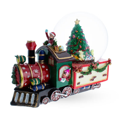 Train With Children and Christmas Tree Musical Water Snow Globe by BestPysanky