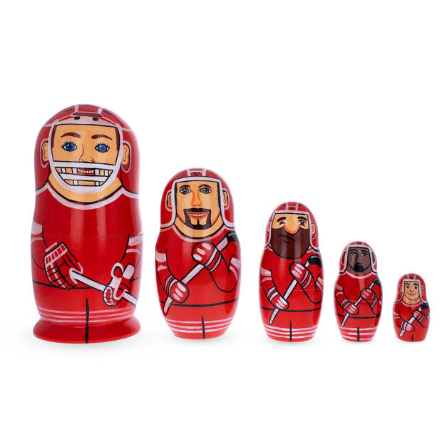 Hockey Players Wooden Nesting Dolls