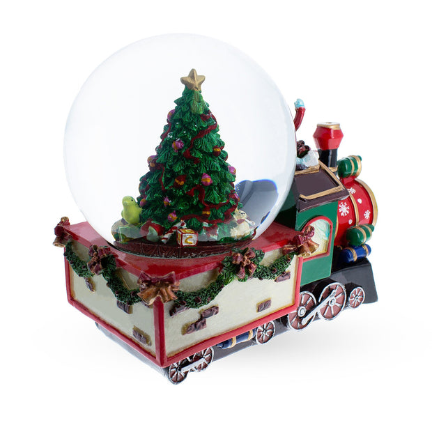 Train With Children and Christmas Tree Musical Snow Globe