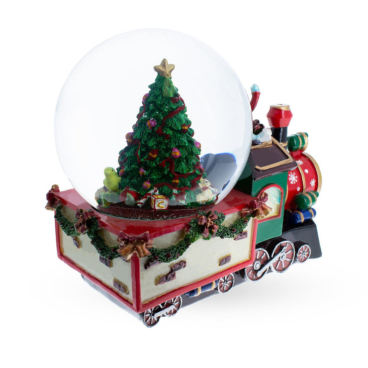 Buy Online Gift Shop Train With Children and Christmas Tree Musical Water Snow Globe
