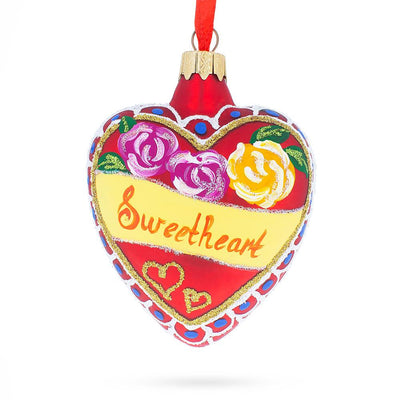 To My Sweetheart Glass Heart Christmas Ornament by BestPysanky