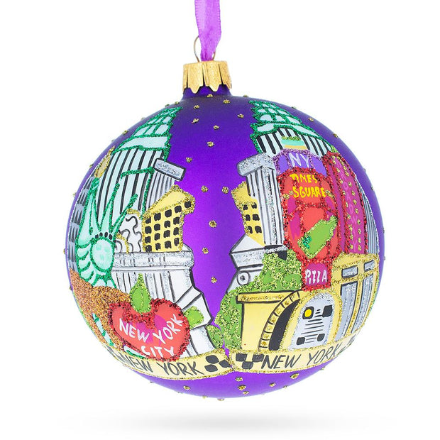 The Best Of New York Glass Ball Christmas Ornament 4 Inches