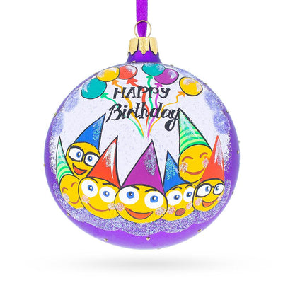 Happy Birthday Emojis Glass Ornament 4 Inches by BestPysanky