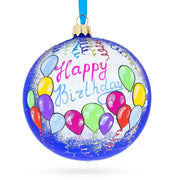 Happy Birthday Balloons & Cupcakes Glass Ball Christmas Ornament 4 Inches