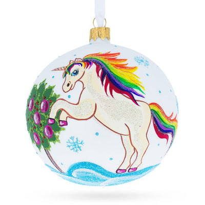 Unicorn Glass Ball Christmas Ornament 4 Inches by BestPysanky