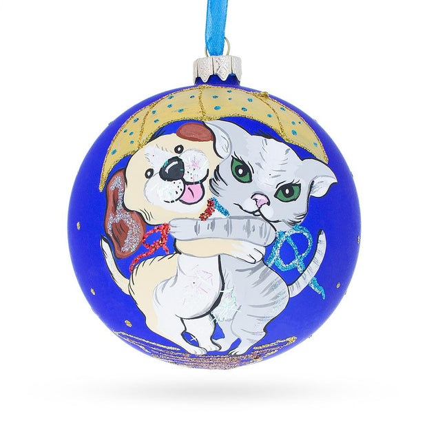 Cat & Dog Glass Ball Christmas Ornament 4 Inches