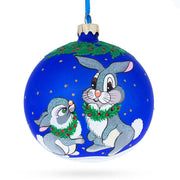 Two Bunnies Glass Ball Christmas Ornament 4 Inches