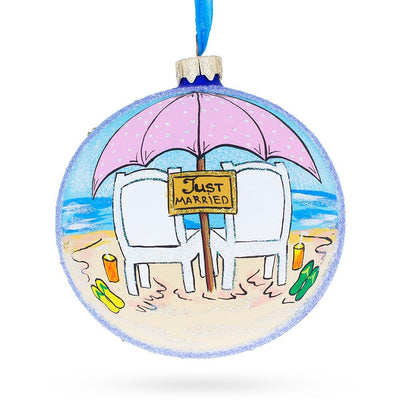 Just Married on the Beach Glass Ball Christmas Ornament 4 Inches by BestPysanky