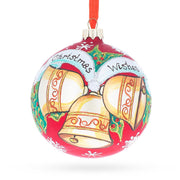 Three Bells Glass Ball Christmas Ornament 4 Inches