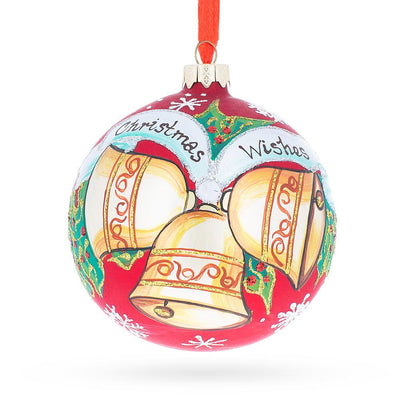 Three Bells Glass Ball Christmas Ornament 4 Inches by BestPysanky