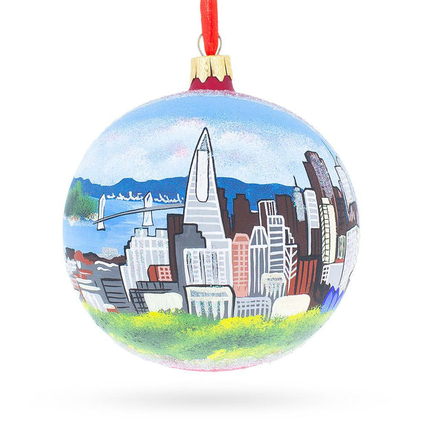 I love San Francisco, California Glass Ball Christmas Ornament 4 Inches by BestPysanky