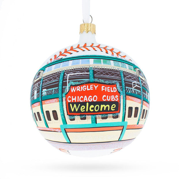 Chicago Wrigley Field Glass Ball Christmas Ornament 4 Inches by BestPysanky