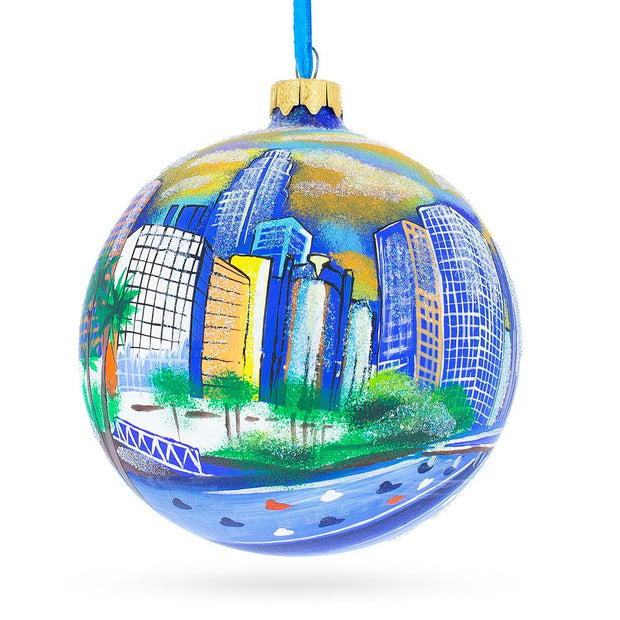 I Love Los Angeles, California Glass Ball Christmas Ornament 4 Inches by BestPysanky